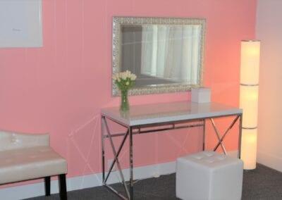 Paradise Wedding Chapel on Bridal Suite Vanity Table