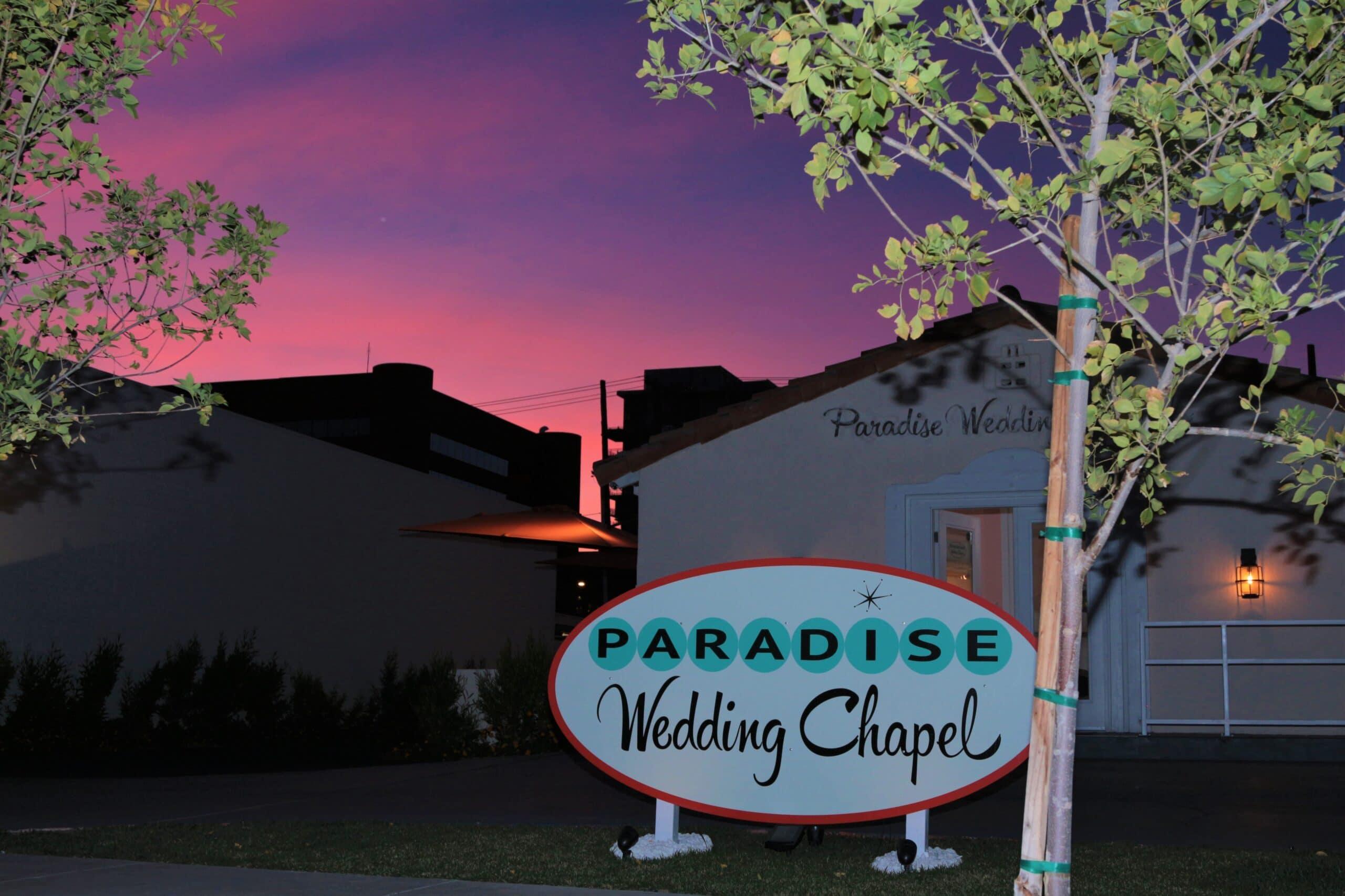 Las Vegas Paradise Wedding Chapel Night