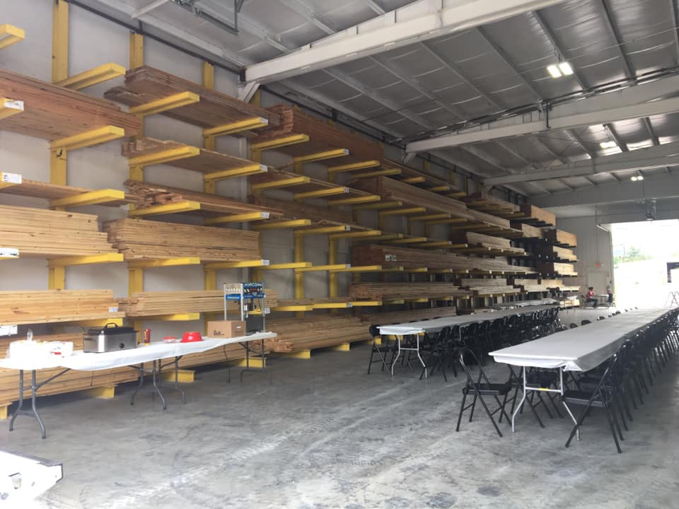 A facility with stored lumber