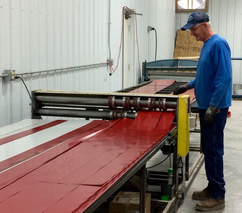 A man operating a machine