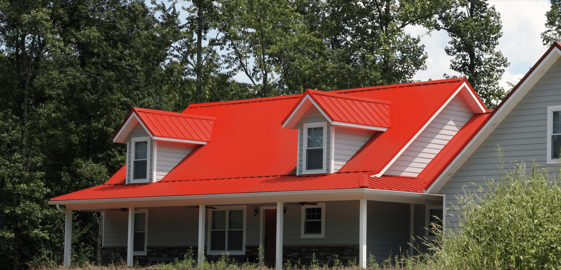 A house with a red roof
