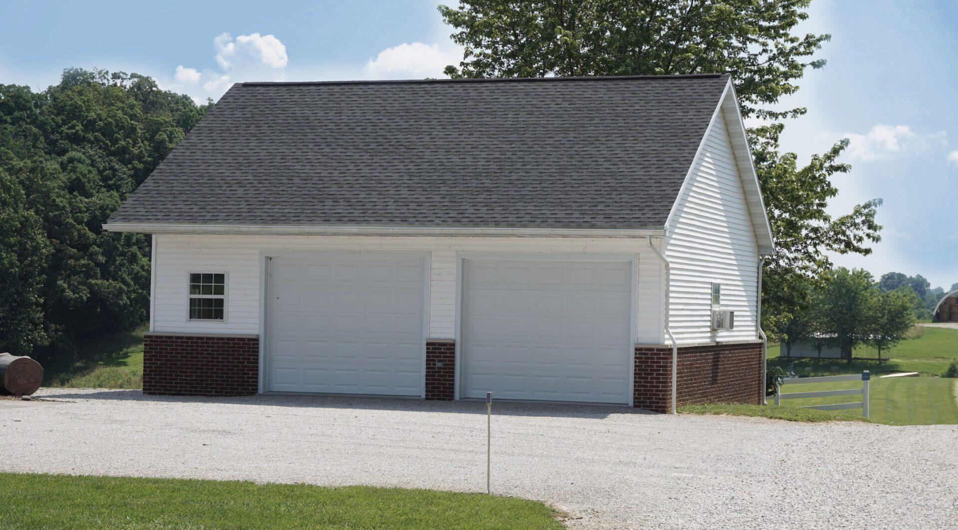 Two garage doors of a building