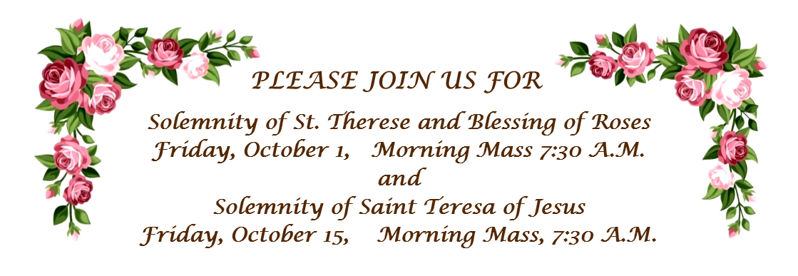 announcment Sts Therese and Teresa 2021