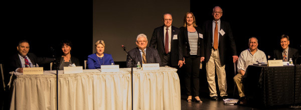 The Conference on Medicine, Bioethics, and the Holocaust brought together internationally renowned scholars for a panel discussion on the lasting legacy of the Holocaust for medicine, ethics, healthcare policy, and human rights endeavors. Participants included (left to right): Michael Berenbaum, Ph.D.; Tessa Chelouche, M.D.; Patricia Heberer-Rice, Ph.D.; Arthur L. Caplan, Ph.D.; Allen Menkin, M.D.; Stacy Perlstein Gallin, D.M.H.; Jonathan Rose, Ph.D.; Allen Keller, M.D.; and Peter Nelson, MA. Photo courtesy of Jordan Cheesman.