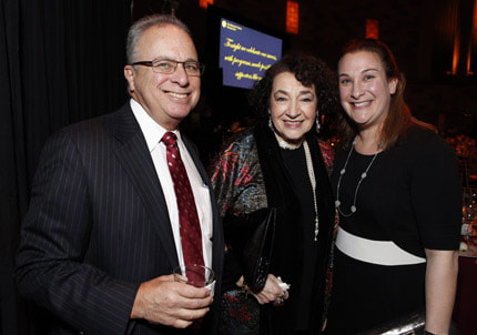 Dr. Allen Menkin, MIMEH Co-Founder; Sandra O. Gold, MS, Ed, Senior Counselor to the President and Founder, The Arnold P. Gold Foundation; and Stacy Gallin, DMH, MIMEH Co-Founder at The Gold Thread Gala: Weaving Science and the Human Side of Healthcare on November 23, 2015 in NYC.