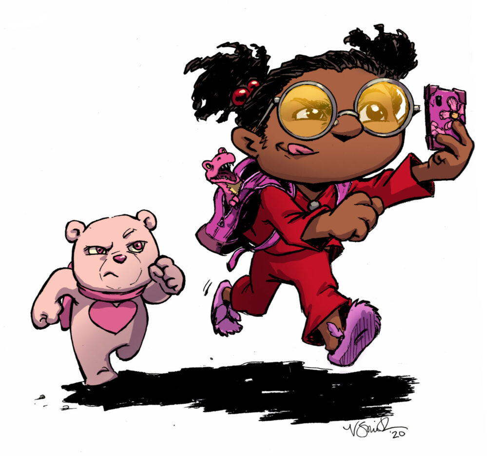 Team-D – A super-smart girl, her grumpy Teddy Bear and her Rubber Dinosaur are about to have a little big adventure across universe – Art by Veronica Smith