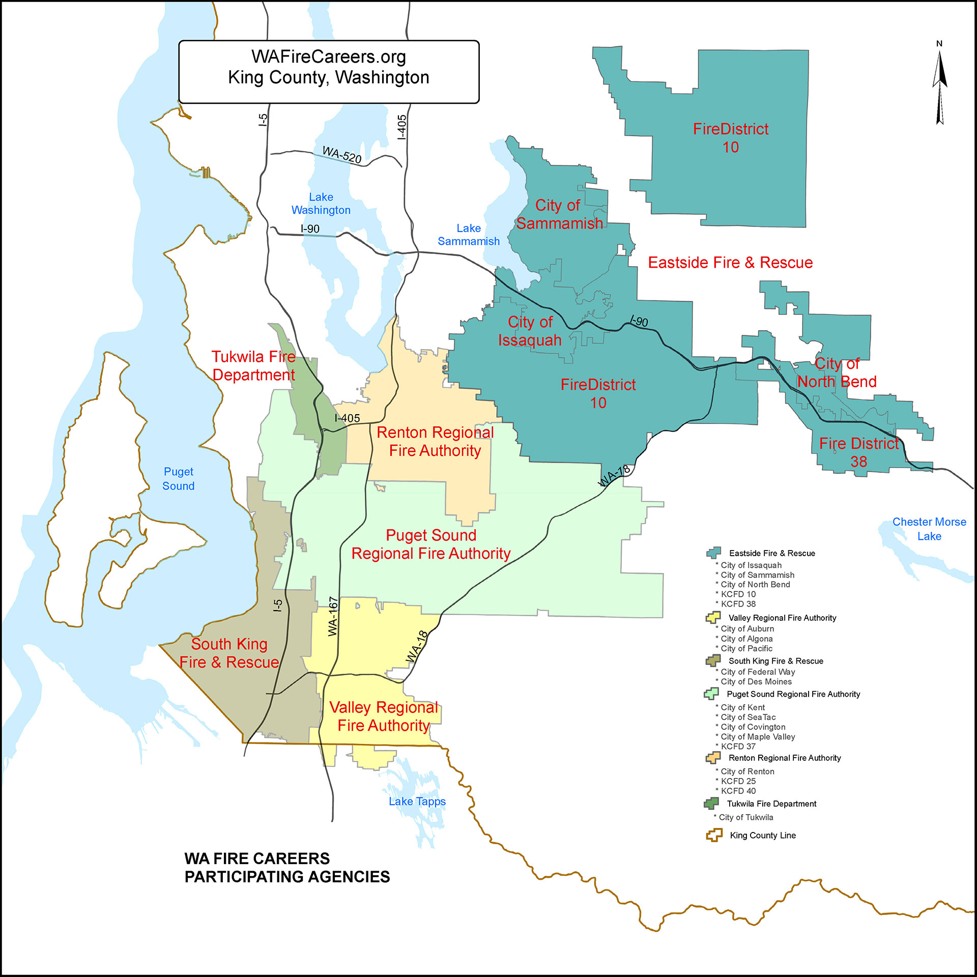 Image of a map showing the boundaries of each fire agency who participates in WA Fire Careers.