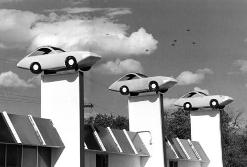 Flying Cars – Albuquerque – circa 1980s, black and white silver gelatin print