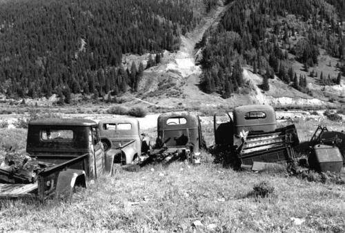 Junk Cars in the Rockies – Colorado, black and white silver gelatin print