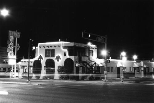 Tewa Lodge at Night, Albuquerque, New Mexico, 2012, black and white silver gelatin print