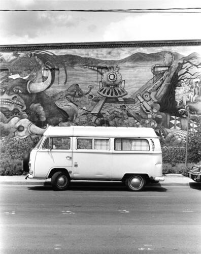 Volkswagen Bus and Mural, Albuquerque, New Mexico, circa 1980s, black and white silver gelatin print