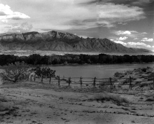 View of the Sandias from Coronado Monument – New Mexico – circa late 1960s, black and white silver gelatin print