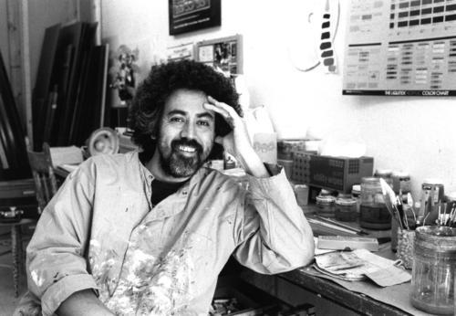 Harry Foncesca, in His Quail Plume Studio, circa 1980s, Albuquerque (black-and-white, silver-gelatin print)
