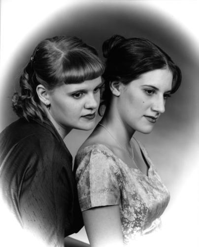 Herrera Sisters, Albuquerque (black-and-white, silver-gelatin print)