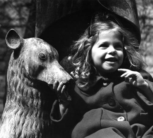 Rebecca and Stone Dog, Evanston, Early 1970s (black-and-white, silver-gelatin print)
