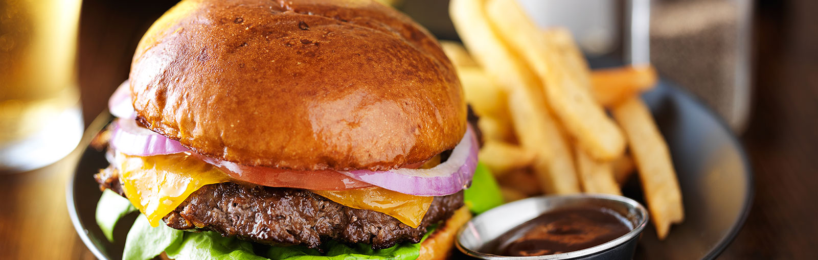 cheese burger and fries