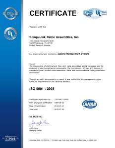 ISO 9001-2008 CERTIFICATE, valid until 7-20-15
