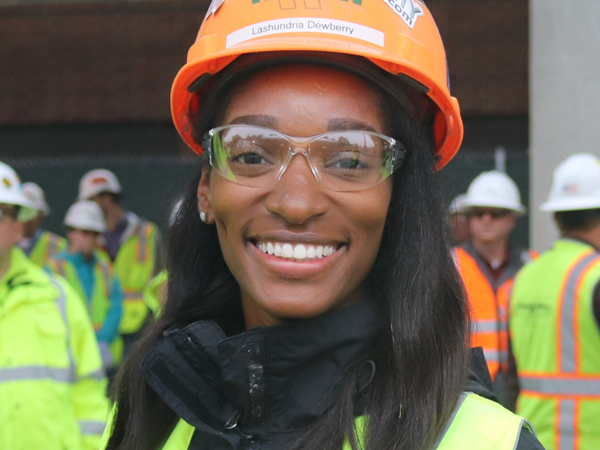 African American Woman in Hard Hat