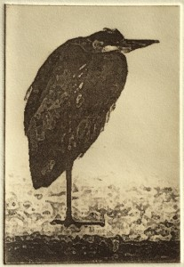 Winter Heron (solar plate etching)
