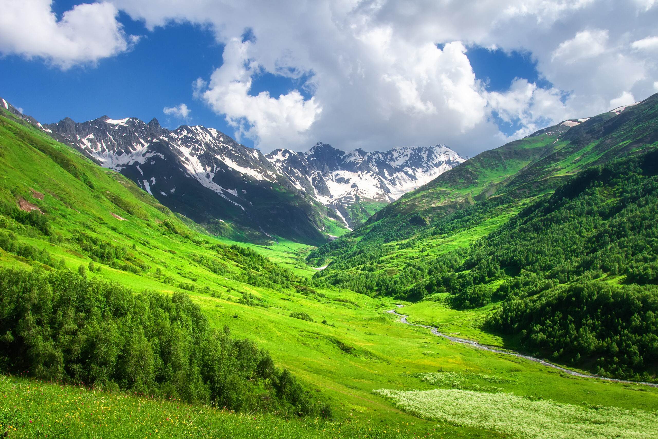 Mountains. Beautiful landscape of mountain valley. Scenic mountains. Amazing green mountain valley. Svaneti, Georgia