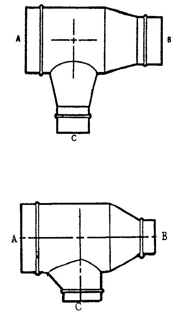 Conical or Boot reducing Tee
