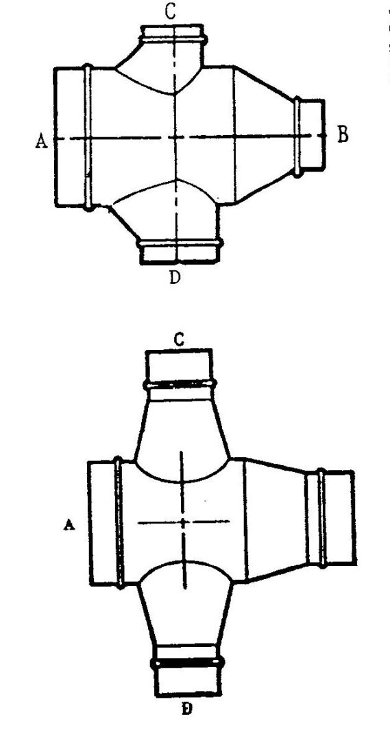 Conical or boot double reducing tee