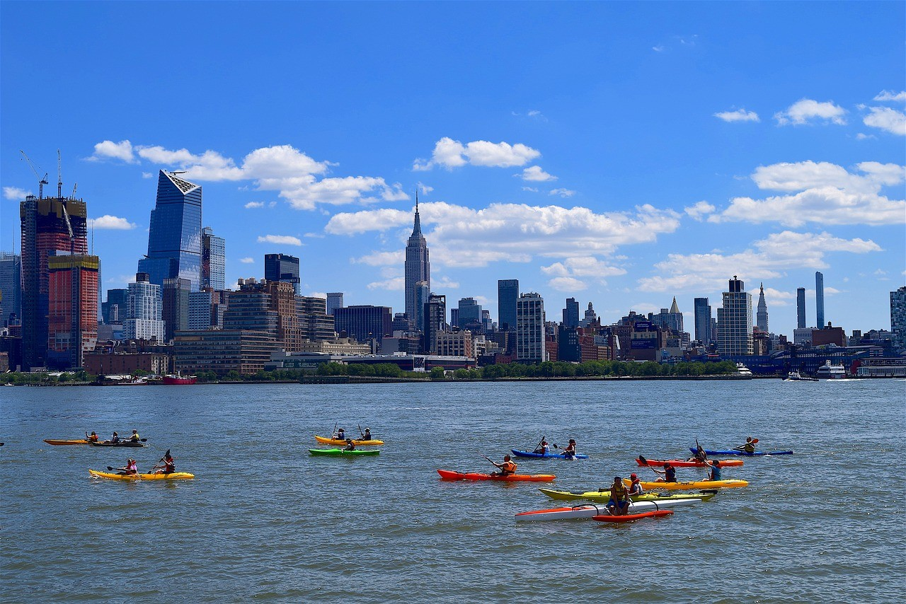kayaks in river hudson as one of the best river cruise in america