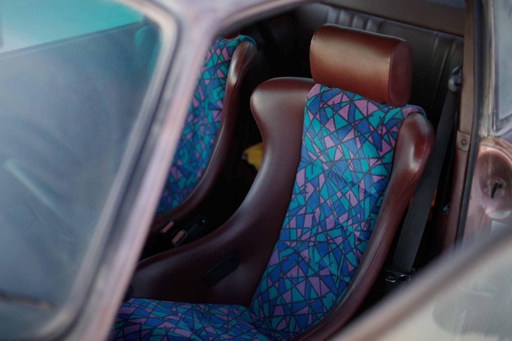 custom European bus fabric interior on a 1987 Porsche 911 Carrera