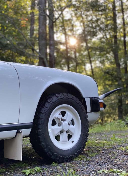 tire shot of a Custom Built 1981 Porsche 911 SC with Grand Prix White exterior and Cow Interior