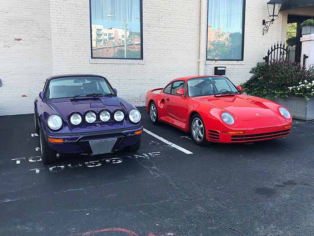 Custom Built 1978 Porsche 911 SC with Lilac exterior and Pascha interior parked in a parking space outside a building