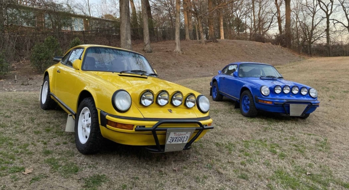 Custom Built 1988 Porsche 911 Carrera with Cadmium Yellow exterior and Opel fabric interior parked on a hill