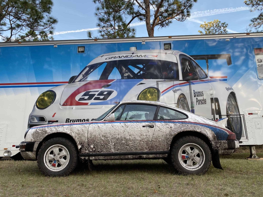 Custom Built 1982 Porsche 911 SC with Brumos Livery Exterior and Porsche Tartan Interior parked in front of a mural