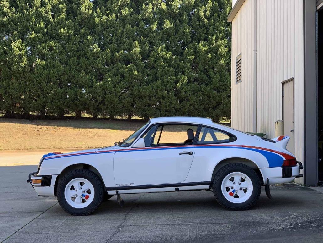 side view of a Custom Built 1982 Porsche 911 SC with Brumos Livery Exterior and Porsche Tartan Interior
