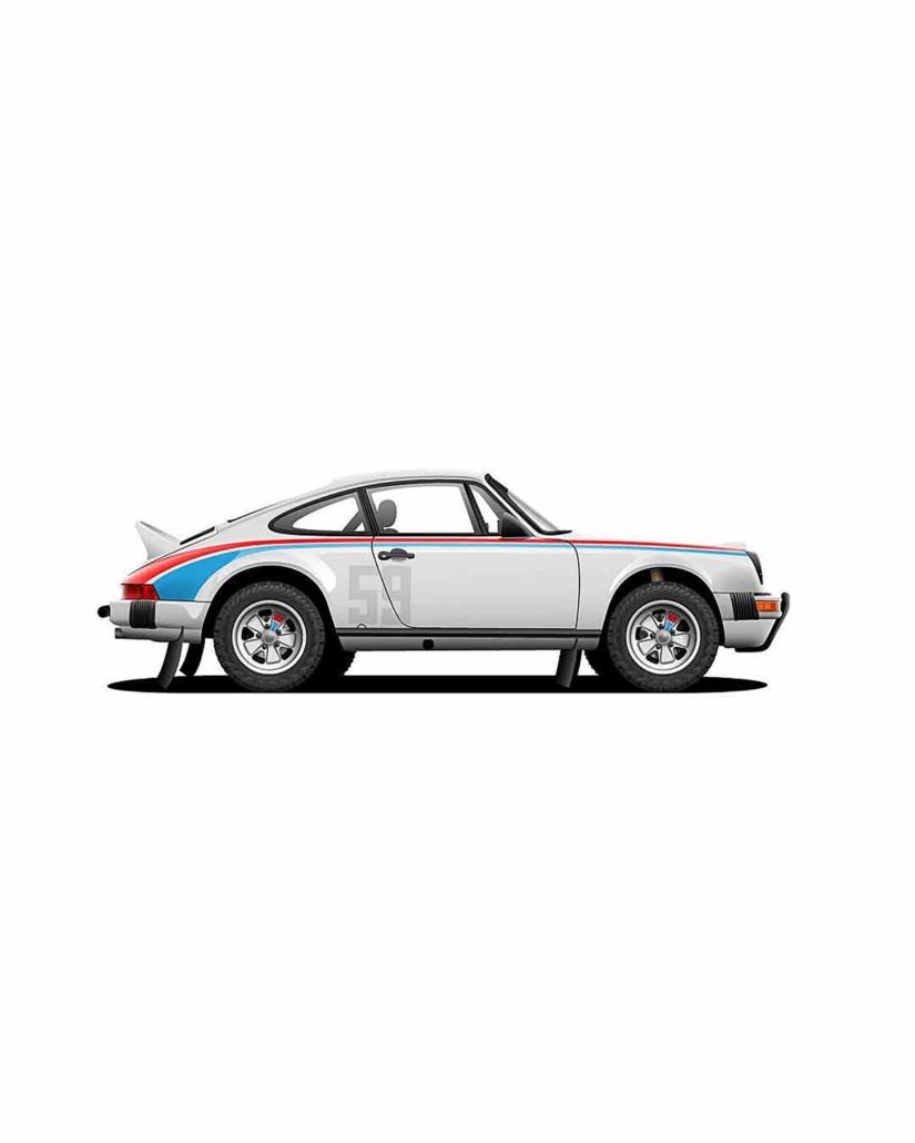 side view of Custom Built 1982 Porsche 911 SC with Brumos Livery Exterior and Porsche Tartan Interior