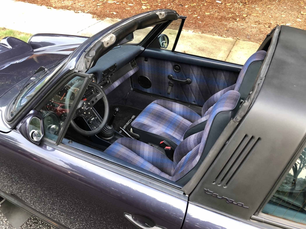 Custom Built 1986 Porsche 911 Carrera with Shwartz Exterior and Mercedes G Fabric Interior with the top down