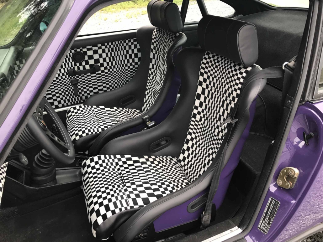 seat view of custom Pascha Interior on a 1978 Porsche 911 SC