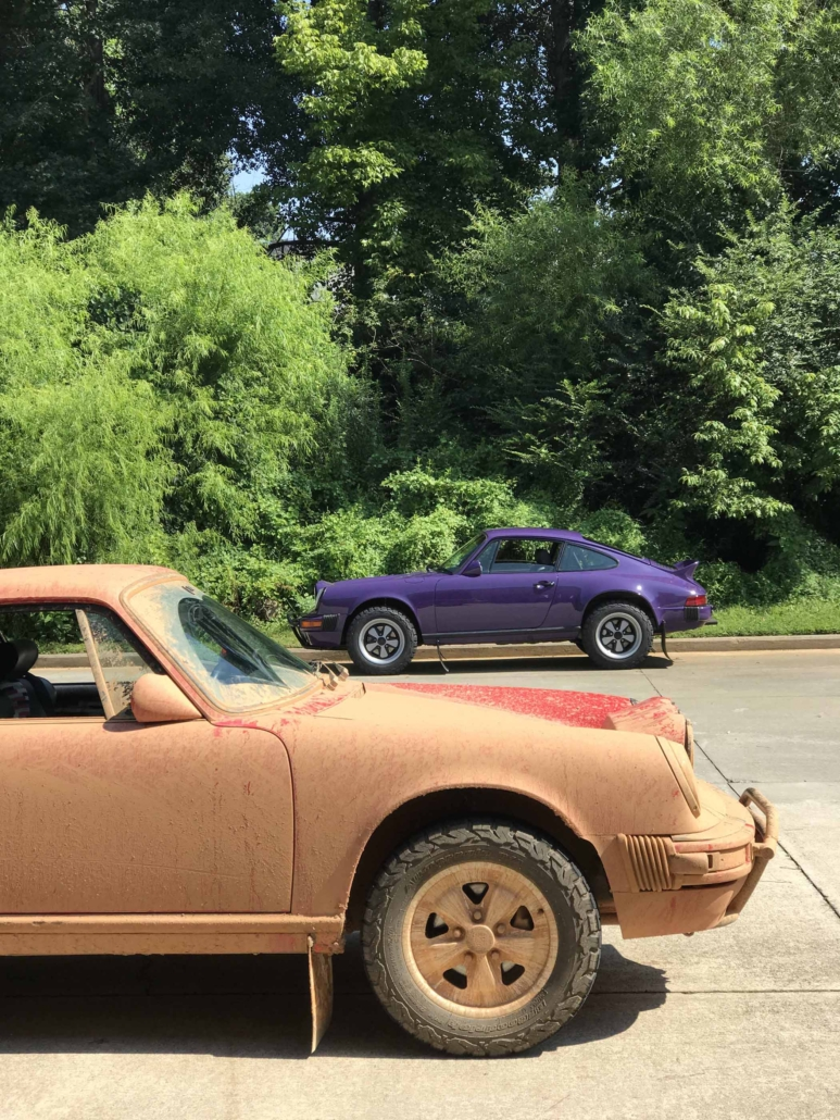 Custom Built 1978 Porsche 911 SC with Lilac exterior and Pascha interior in the background