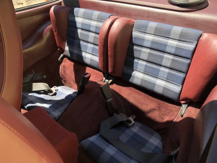 back seating of a Custom Built 1986 Porsche 911 Carrera with Shwartz Exterior and Mercedes G Fabric Interior