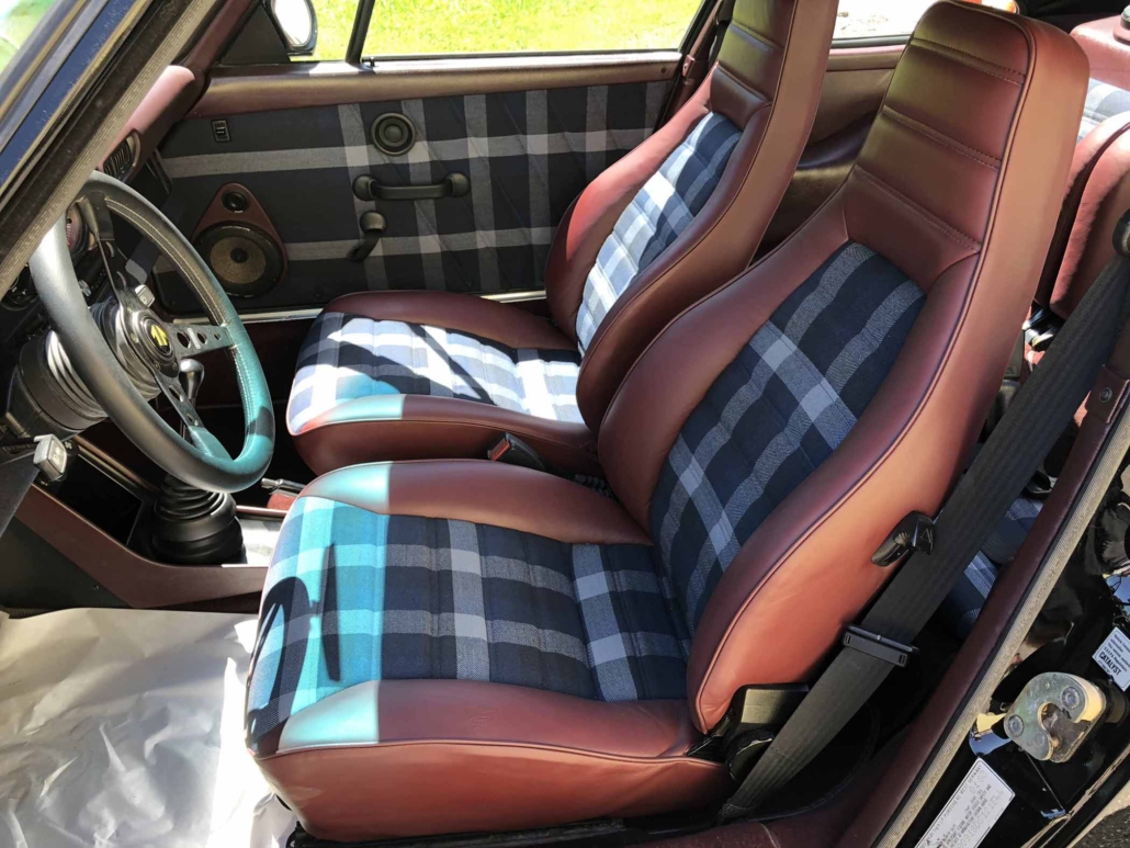front seating of a Custom Built 1986 Porsche 911 Carrera with Shwartz Exterior and Mercedes G Fabric Interior