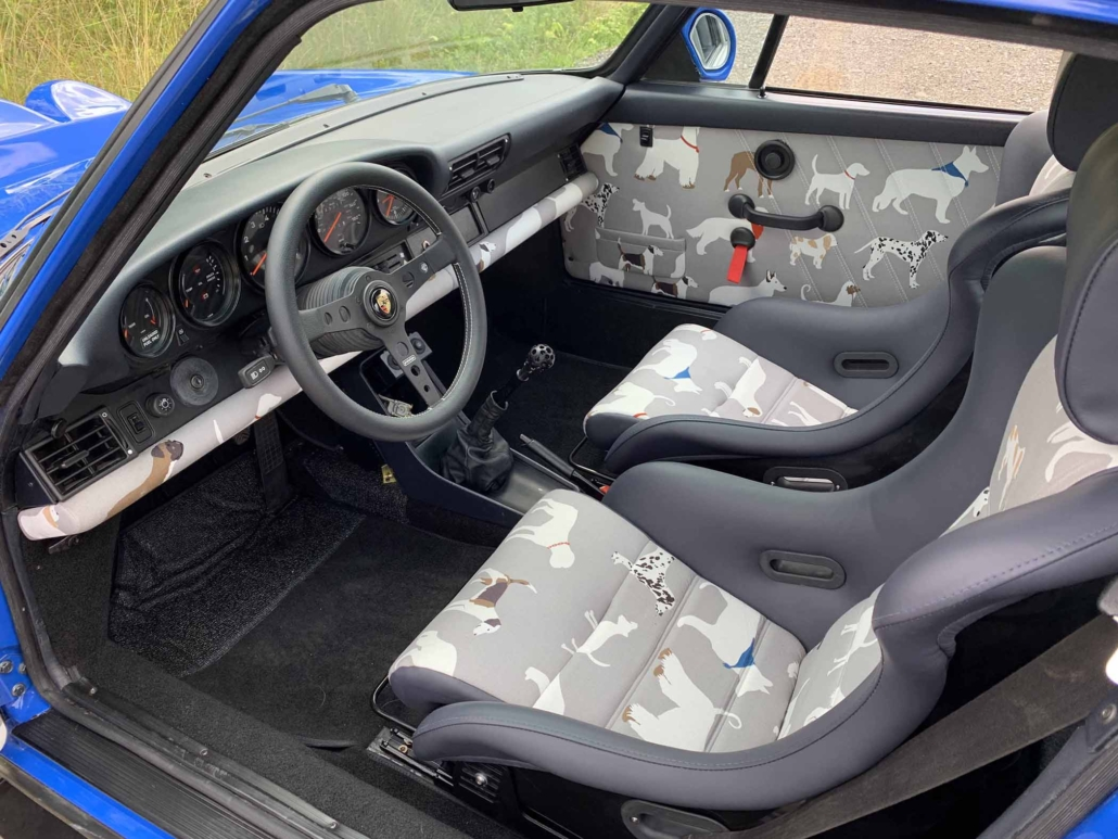 custom Dog Fabric Interior front seating on a 1988 Porsche 911 Carrera