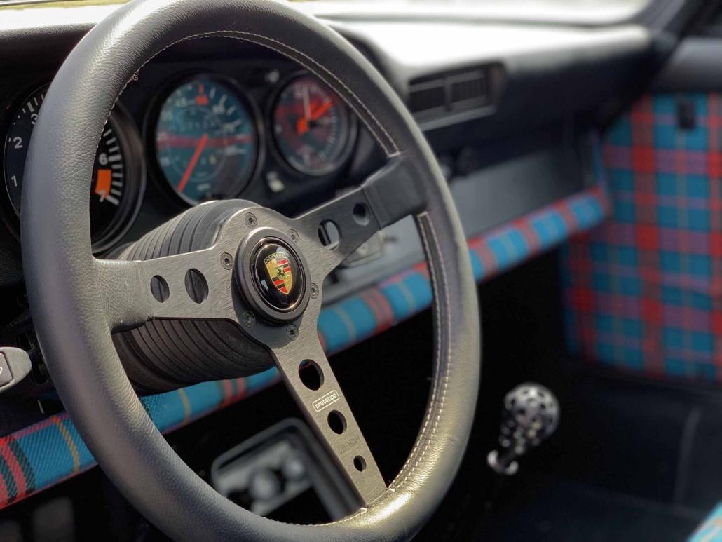 steering wheel shot of a Custom built 1982 Porsche 911 SC