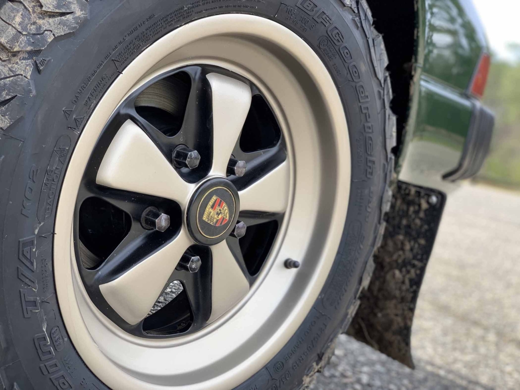 tire shot of Custom built 1982 Porsche 911 SC in Irish Green with VW tartan interior