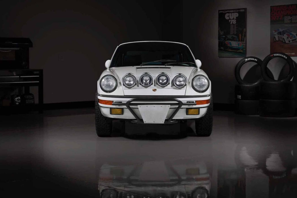 front view of Leh Keen's Custom Built Carrera White 1989 911 Carrera with Porsche Tartan Interior