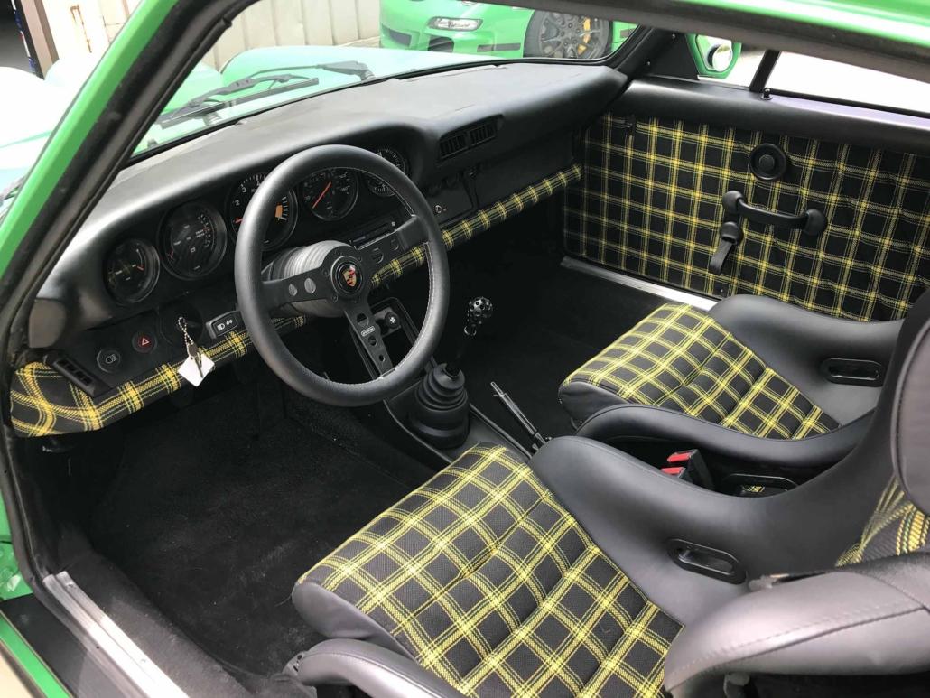Custom Porsche Tartan Interior on a 981 Porsche 911 SC in Signal Green