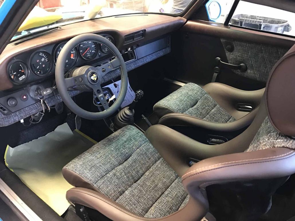 Blue and Brown basket weave interior on a Custom Built 1980 Porsche 911 SC