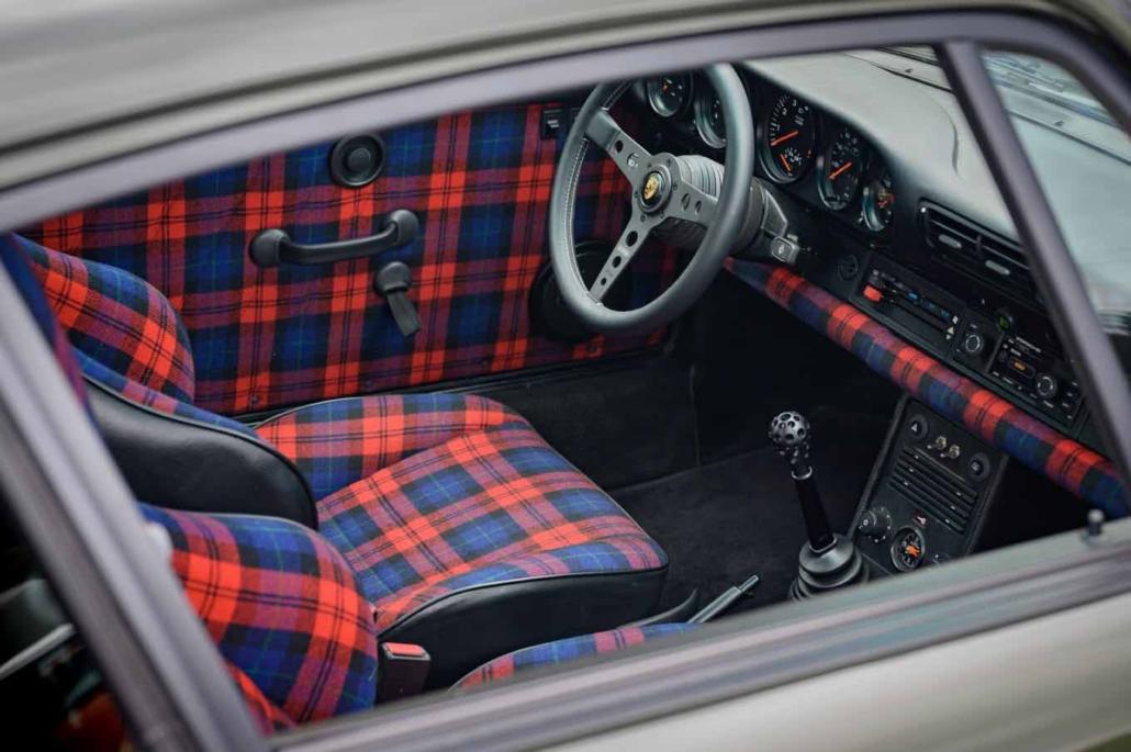 Porsche tartan interior on a Custom Built 1986 Porsche 930 Turbo with Oak Green Metallic Exterior