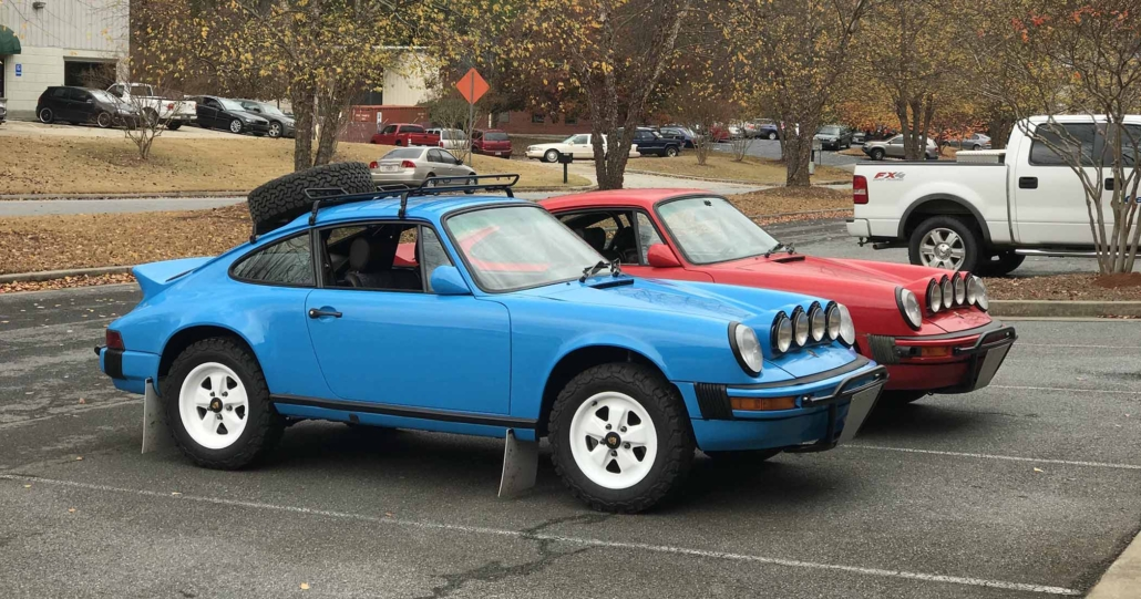 Custom Built 1980 Porsche 911 SC in Riviera Blue with blue and brown basket weave interior parked in a parking lot