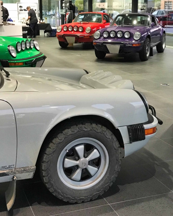 tire shot of Leh Keen's Custom Built 1986 Porsche 911 Carrera with Fashion Grey Exterior and Lancia Fabric Interior