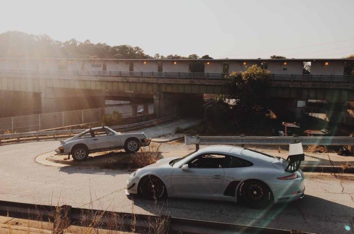Custom Built 1986 Porsche 911 Carrera with Fashion Grey Exterior and Lancia Fabric Interior at sunset