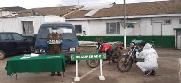 Carabineros recupera tres vehículos con encargo por robo